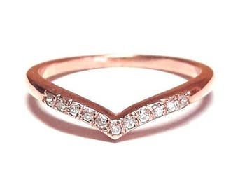 V Ring-Pave V Ring-Gold Ring-Diamond V Ring-Rose Gold Ring-925K Silver Zirconia V Ring
