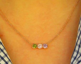 Birthstone Mothers Necklace-Birthstone Necklace-Mothers Necklace-Family Necklace-925K Silver Zirconia Handmade Channel Birthstone Necklace