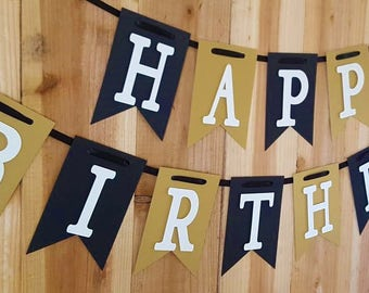 Black and Gold Happy Birthday Banner, High Chair Banner, I Am One Banner