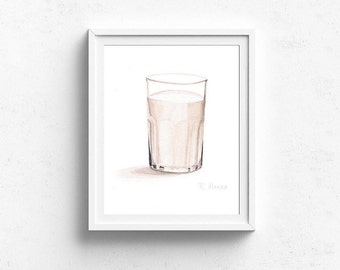 Glass of Milk, Food PRINT, Kitchen Decor, Dining Room Art, Playroom Art, Kitchen Wall Art, Food Painting, Food Illustration, Cookie, Milk