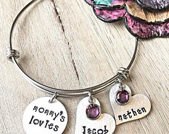 Mom Gift, Mother's Day Jewelry, Mother's Bracelet, Personalized Charm Bracelet, Gifts for Mom, Wife Gift, Kids Name Bracelet, Name Jewelry