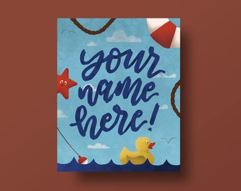 Custom Nautical Illustration with Hand-lettered Name