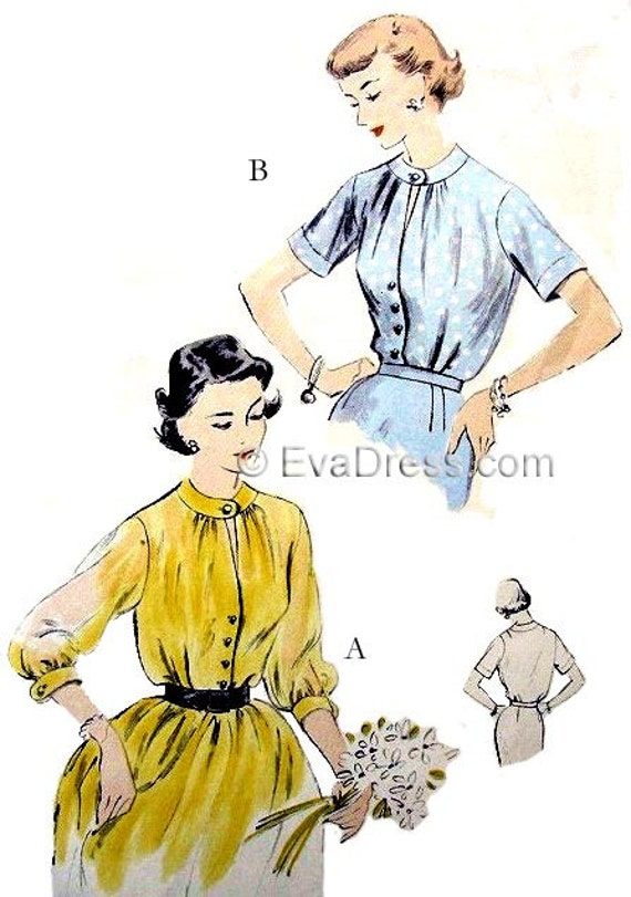 1950s Sewing Patterns | Swing and Wiggle Dresses, Skirts 1951 Keyhole Blouse Pattern by EvaDress $14.00 AT vintagedancer.com