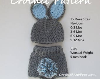 Crochet PATTERN for Easter Bunny Hat. In sizes Newborn to 12 months. Immediate Download