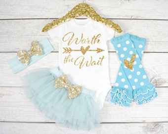 Worth the Wait. Newborn Outfit. Take home Outfit. Newborn Outfit Girl. Coming Home Outfit, Baby Girl Clothes (S50) (NWB) (AQUA)