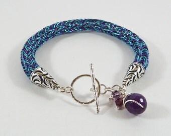 Viking Knit Bracelet, Wirework Torque, Blue, Purple, Sterling Silver, Amethyst, Viking Gift, Small, Multicolour, Ornate, Woven Wire Bracelet