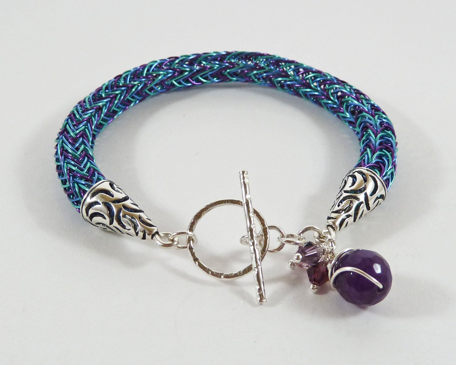 Viking Knit Jewelry Patterns : Viking Knit Bracelet Wirework Torque Blue Purple Sterling