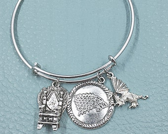 Game of Thrones Silver Bangle, Winter is coming Inspired by Charm Bracelet,  Medieval Fantasy Epic, house ofStark, George Martin