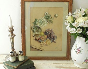 Beautiful antique watercolour painting. Still life.