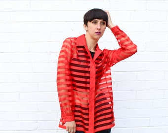 1990's Sheer Red Stripe Oversized Geometric Modern Button Down