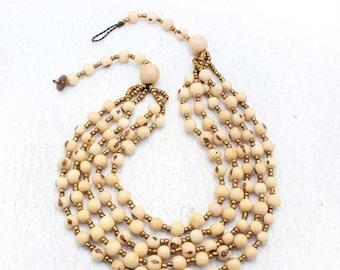 White Multi Strand Beaded Necklace - Ivory Bib Necklace - White Statement Necklace - Perfect Gift for Her - Fair Trade Jewelry 1170
