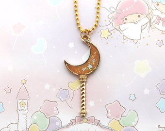 Halloween Moon Wand Necklace - creepy cute necklace, halloween necklace
