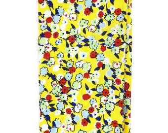 HSQ1149 - Yellow and Blue Floral Print Hand Rolled Cotton Pocket Square, Hankie, Handkerchief