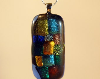 Rainbow Dichroic Fused Glass Pendant with Silver Plated Bail and  Silver Plated Snake Chain Necklace, and Gift Pouch #151