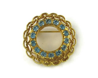 Ornate Blue Rhinestone Circle Pin