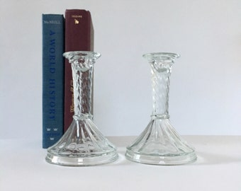 Glass Candlestick Holders / Vintage Clear Glass Swirl Candle Holder / Pair of Candle Stick Holders / Vintage Home Decor / Set of Two
