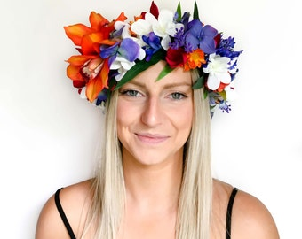 Kealy Tropical Flower Crown - Orange and Blue Floral Headpiece