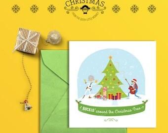 "Back to the future ""Rockin' around the Christmas tree"" Square Christmas card"