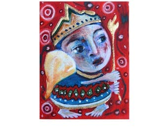 angel gift, abstract angel, primitive, naive art, angel artwork, Aceo, Folk Art, folk angel painting, ACEO painting, mini painting