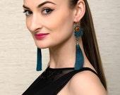 Boho Tassel Earrings Soutache Jewelry Turquoise Green Earrings Statement Swarovski Crystal Long Dangle Earrings