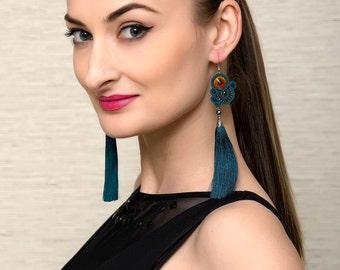 Tassel Earrings Soutache Jewelry Turquoise Green Earrings Boho Statement Swarovski Crystal Long Dangle Earrings