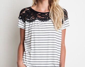S M L ~ Umgee Stripes and Lace Top
