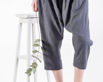 LINEN HAREM pants, Women trousers, Yoga pants, Leisure trousers, Linen Pants, Drop Crotch Trousers, Linen Low Crotch Pants