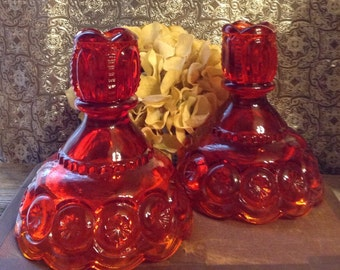 Amberina Candleholder Moon and Stars Candleholders Pair Vintage Candleholders Red Glass Candleholders