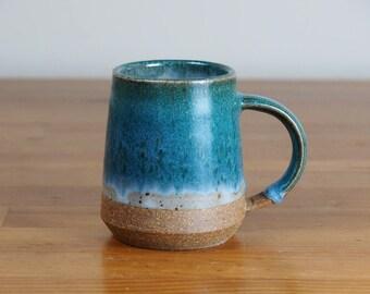 Coffee Mug - Ceramic, Handmade Pottery, Teal