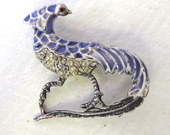 Fabulous Art Deco Mythical Creature/Bird? Enamelled Diamente Brooch