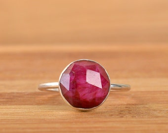 Natural Ruby Ring, Solitaire Ring, July Birthstone Ring, gift, Red Gemstone ring, Sterling Silver ring, Genuine Raw Ruby Jewelry
