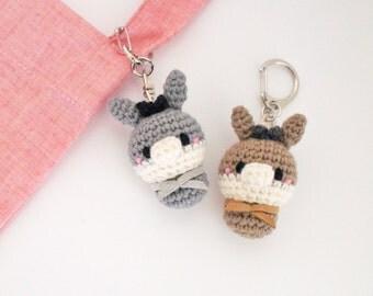 Crochet Donkey Keychain (Keyring, Keyholder), Bag Accessory, Doll