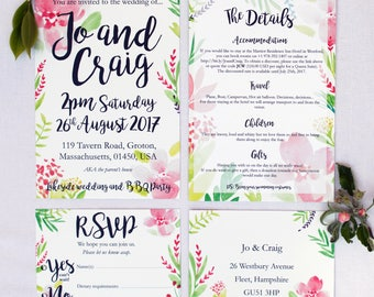 Summer Floral Wedding Invitation with matching RSVP