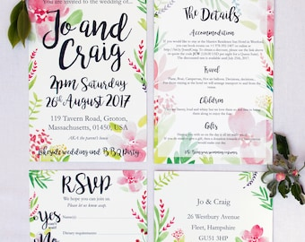 Summer Wedding Invitations and RSVP