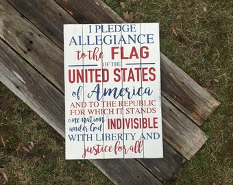 Pledge of Allegiance rustic wooden sign//I pledge allegiance to the flag//Wooden pledge sign//Forth of July//Patriotic//Red, white, and blue