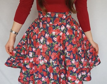 Divine - Floral Handmade Full Circle Swing Skirt - Red/Navy/White - 1950's Pin up Vintage Style - High Waisted