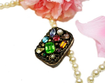Vintage Brass Pill Box with Colorful Rhinestones Trinket Box, Red Yellow Green Pill Box, Wedding Gift