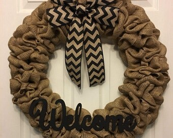 Burlap Wreath, Welcome Wreath, Year Round Wreath, Front Door Wreath, All Season Wreath, Burlap Decor