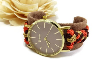 Cuff wrist watch - Brown cuff watch for women - Cuff bracelet - Cuff watch band- Bracelet Watch-  Fabric cuff- 30th birthday gift- Wife gift