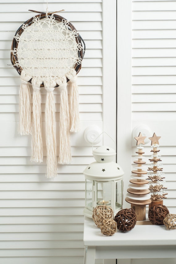 Brown Cream Dream Catcher,  doily rustic medium dreamcatcher, bedroom decor, boho style, wall hanging, wall decor, handmade dreamcatcher