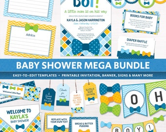 bow tie baby shower decorations package invitation oh boy shower