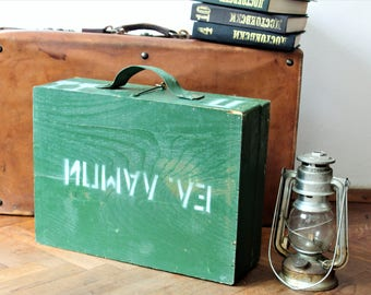Military Tool Box - Bulgarian Army Box - Military Wooden Box - Vintage Military Crate - Green Military Storage Box - Military Memorabilia