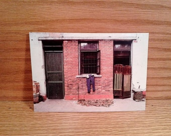 1987 Greeting Card Note Card DOORWAY Shanghai, China Photograph Laurence Nelson Global Odyssey Design Travel Photo Blank Art Vintage UNUSED