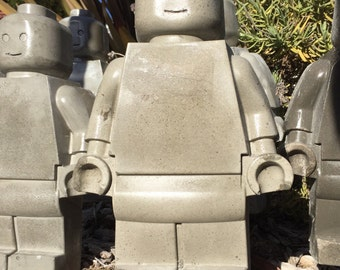 Extra large concrete toy robot mold man garden gnome on garden spikes- mini fig