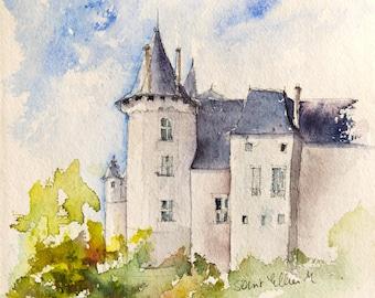 Castle Watercolor Etsy