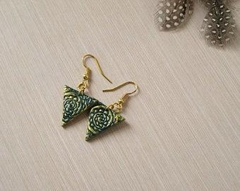 Unique earrings Gold long earrings dangle Ethnic jewelry Gypsy earrings Triangle earrings Modern earrings Tribal earrings Golden earrings