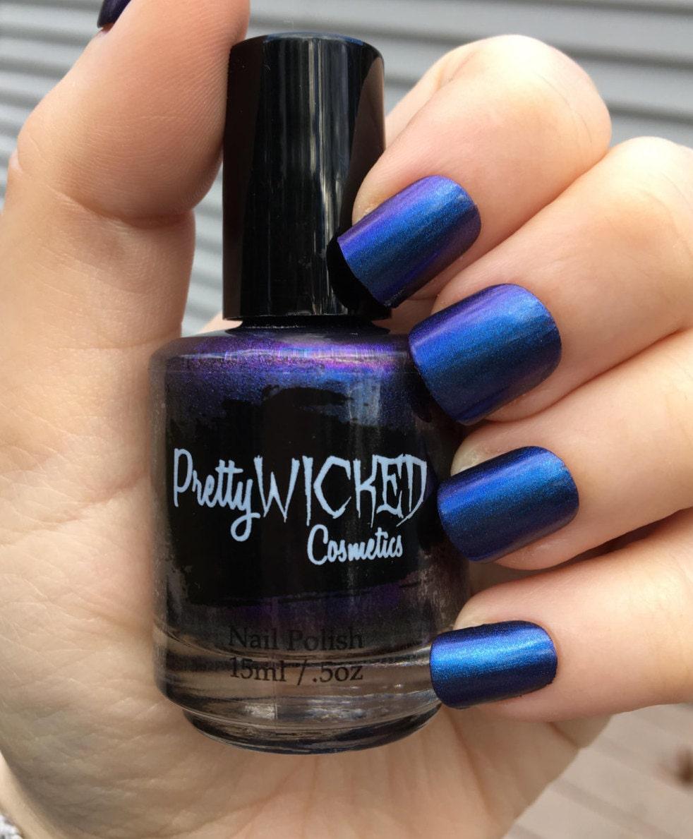 Blue/Purple Duochrome Nail Polish Octavia Polish Blue Nail