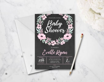 Personalised Printable Baby Shower Invitation - Chalkboard Floral