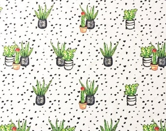 Cactus Print Fabric Velvet, contemporary greenery trend textile ideal for interior sewing projects, cushions, valances, light upholstery UK