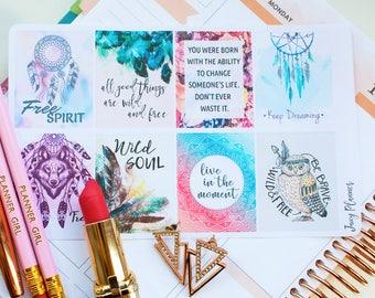 Boho Planner Stickers, EC Quote Stickers, Motivation Stickers, May Stickers, Positive Stickers, Wild Stickers, fits Erin Condren Planner